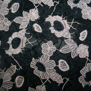 black and taupe guipure lace