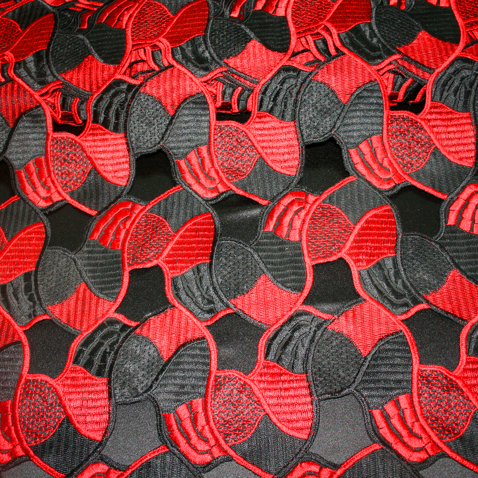Red and black guipure lace fabric floral design bodikian for Black fabric