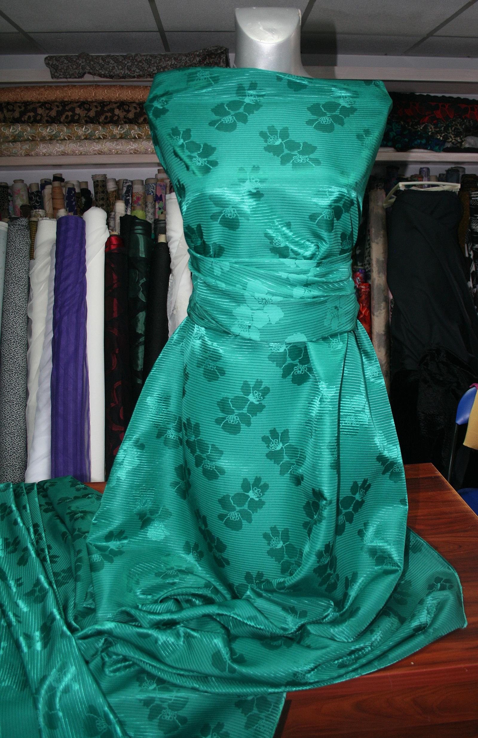 Emerald green floral jacquard fabric grosgrain Ottoman evening ...