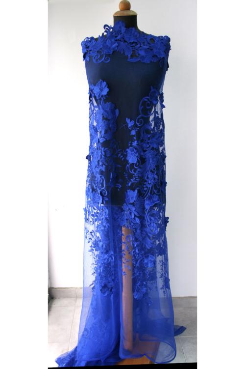 cobalt blue guipure lace