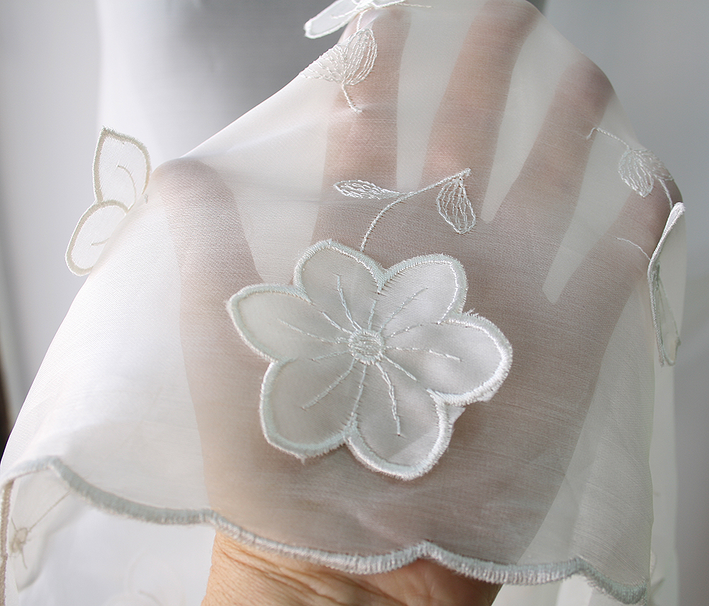 Off white white silk organza fabric 3d flowers bridal for Silk organza wedding dress