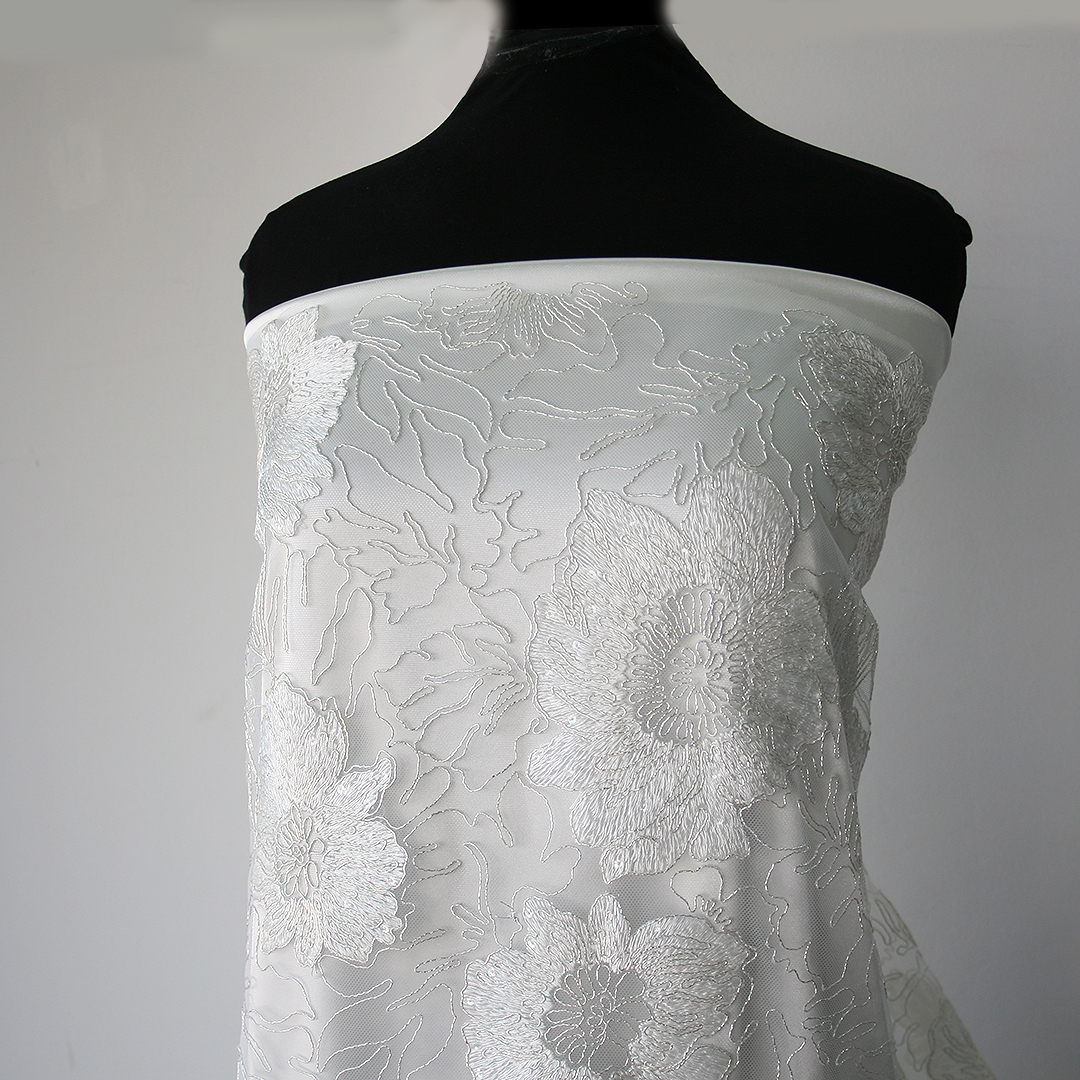 Off white bridal lace fabric large floral embroidery on for White lace fabric for wedding dresses