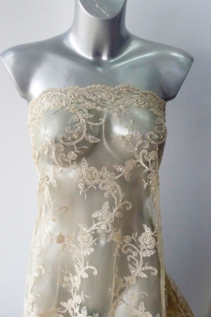 nude beaded bridal lace