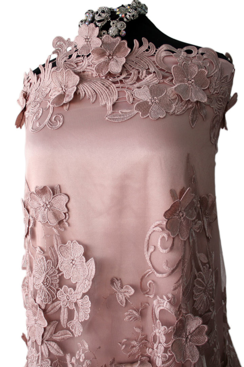 pink guipure lace fabric
