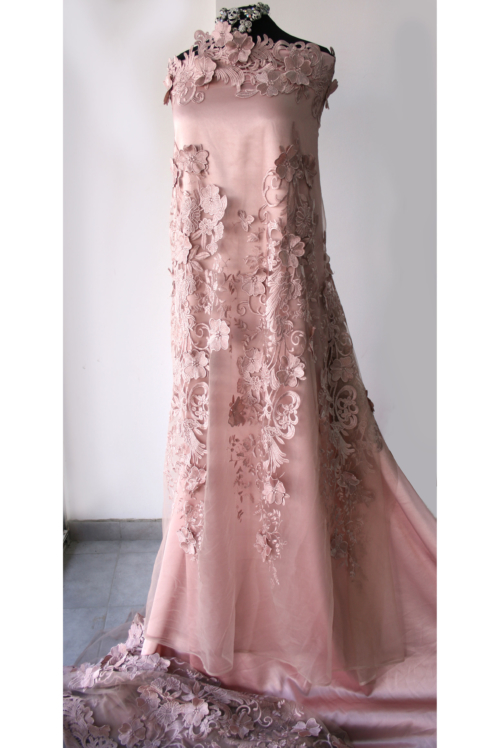 pink guipure lace