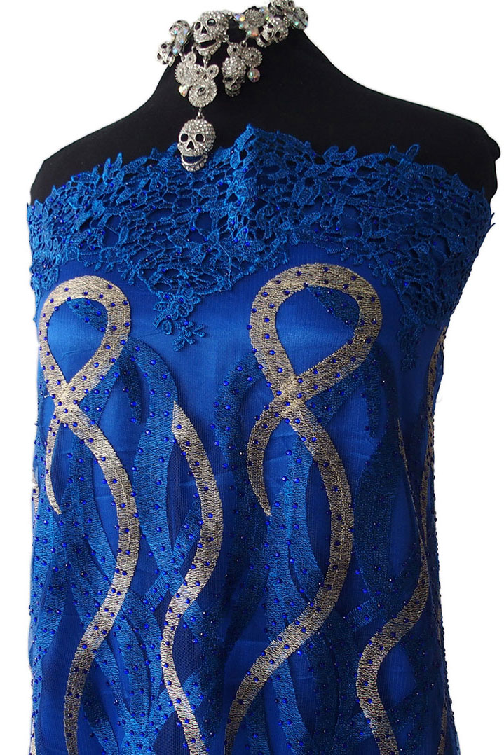 Cobalt Blue Lace Fabric With Stones Guipure On Tulle