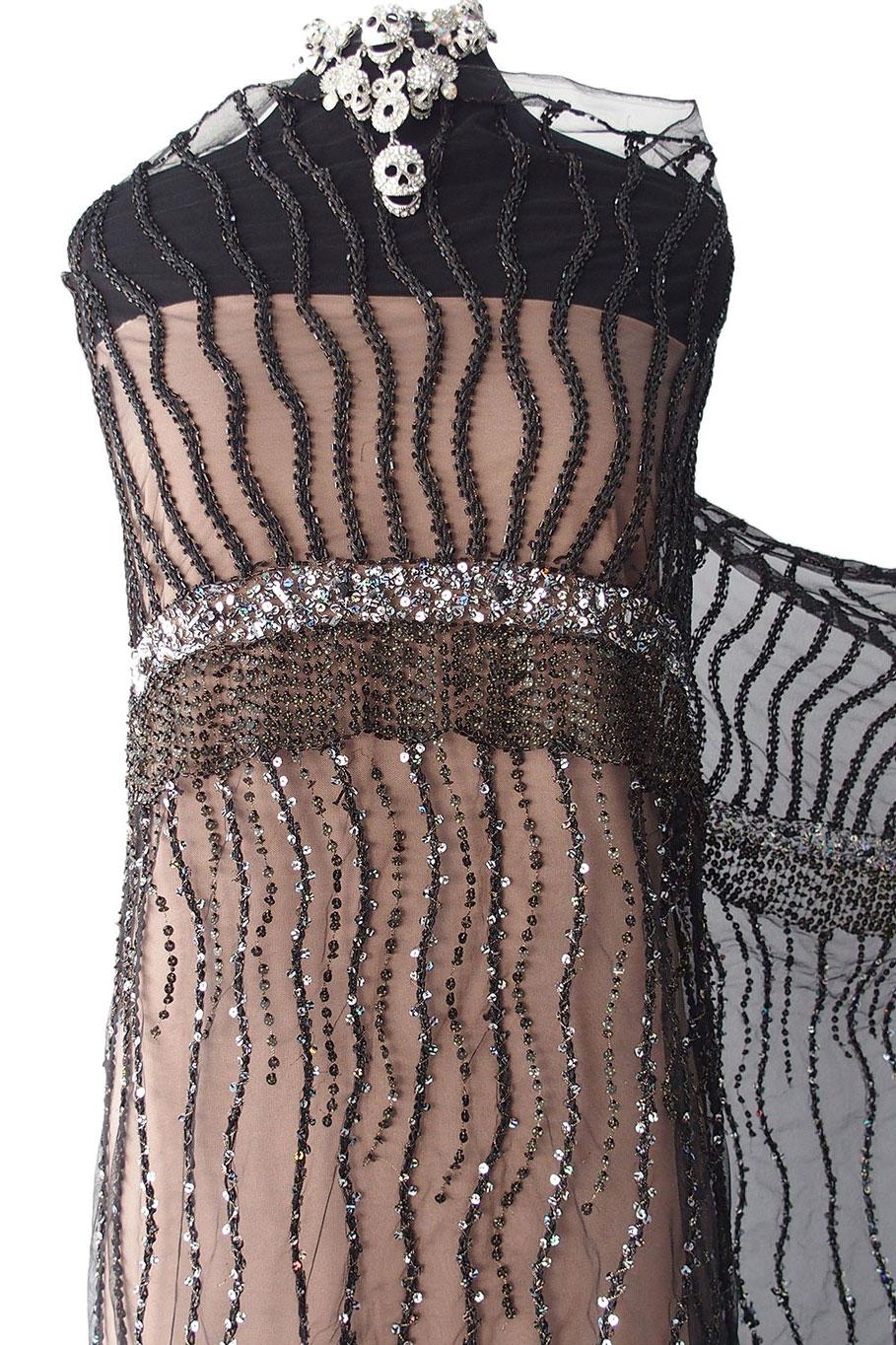 black beaded fabric