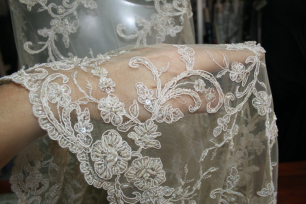 Beige Skin Color Nude Bridal Beaded Corded Lace Fabric