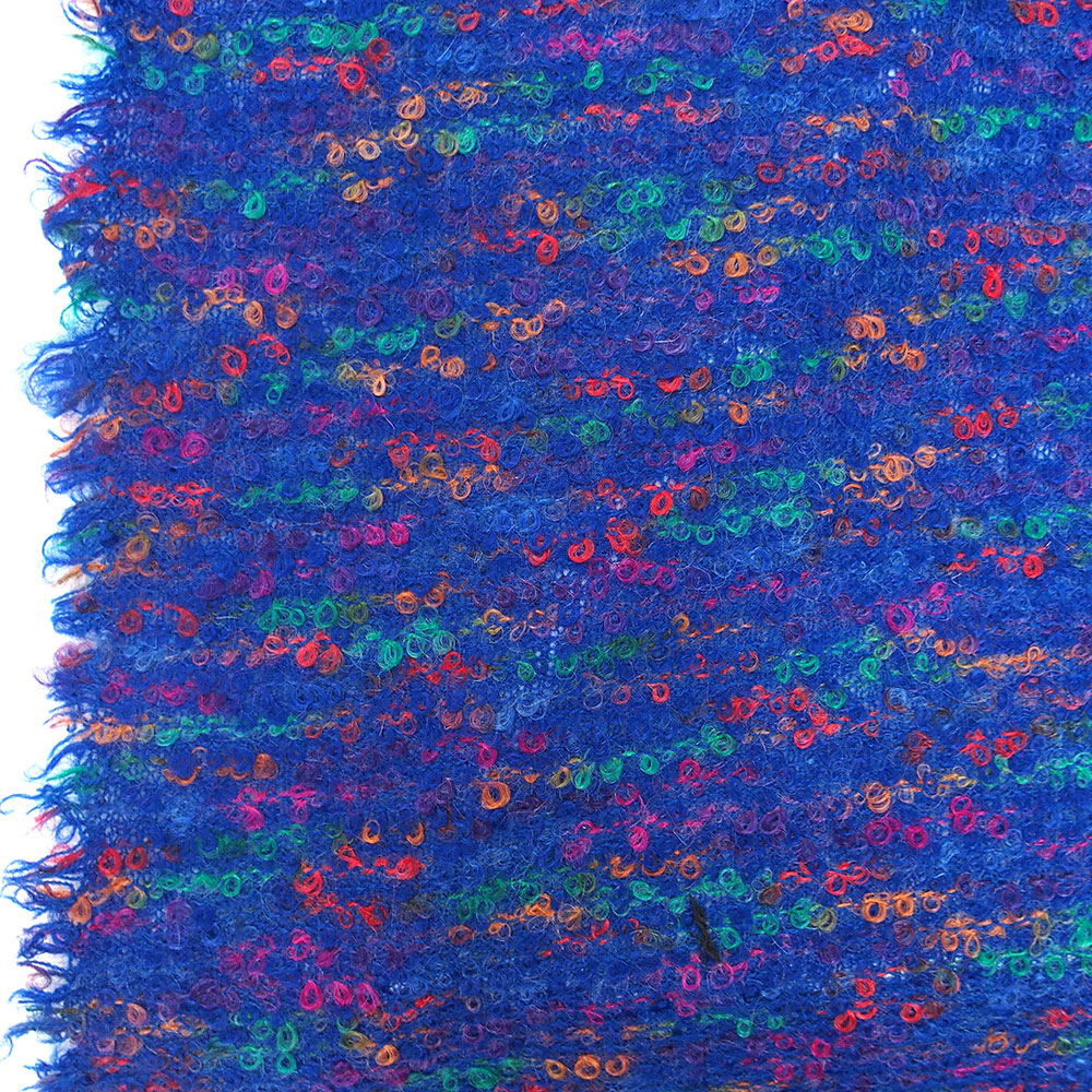knitted boucle tweed fabric pure wool high quality cobalt blue multi ...