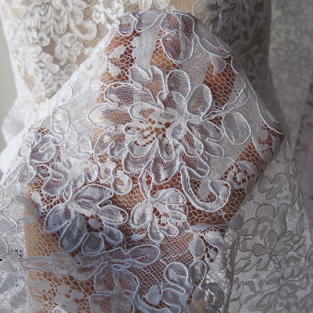 White corded alencon bridal lace fabric floral scallop for White lace fabric for wedding dresses