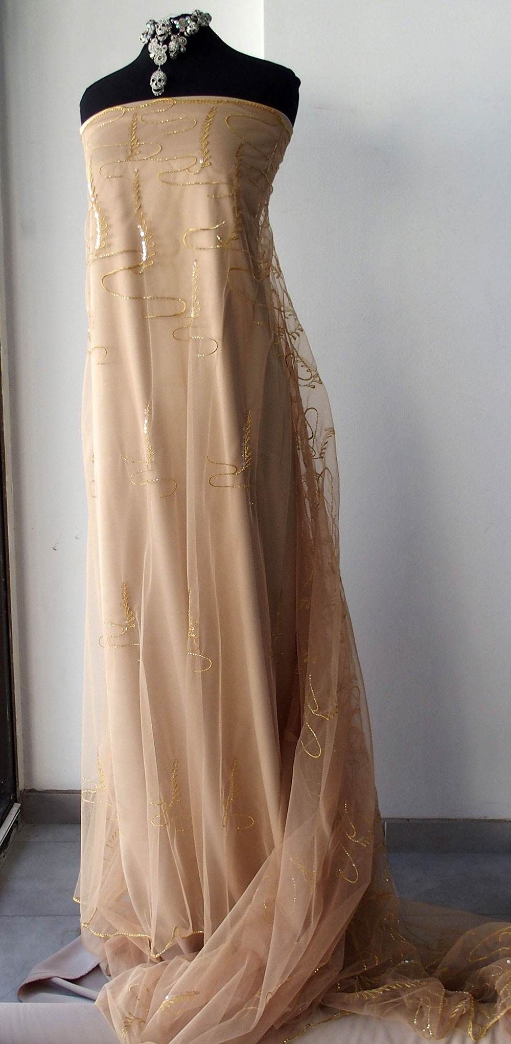 embroidered tulle skin color bridal