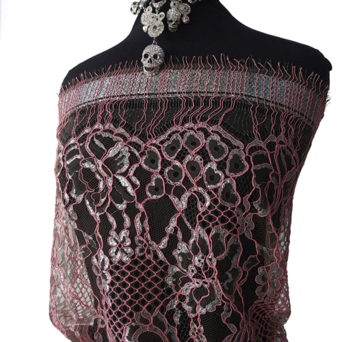 silver pink eyelash lace