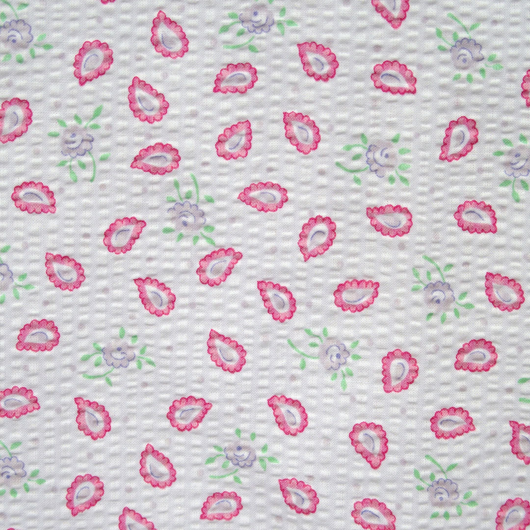 Sear succer cotton fabric small floral print paisley for Childrens patterned fabric