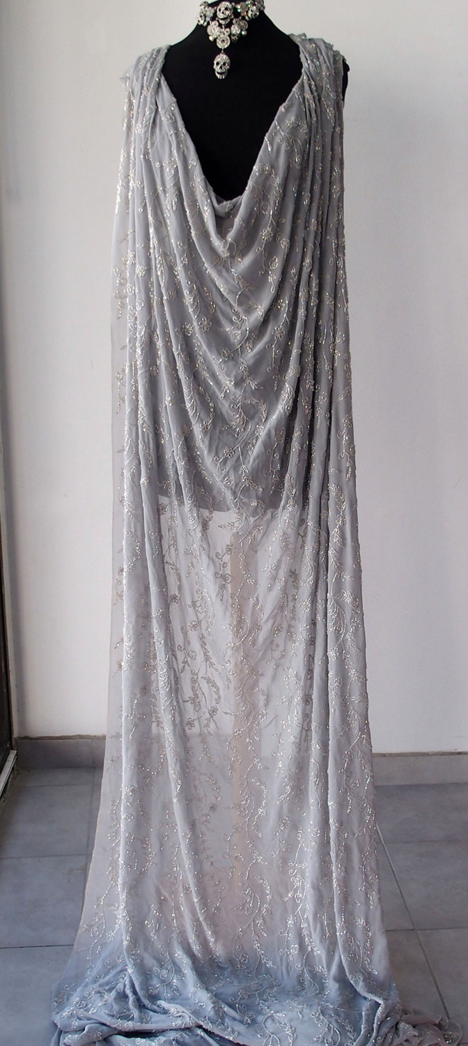 Silver grey silk crepe georgette chiffon floral embroidered fabric ...