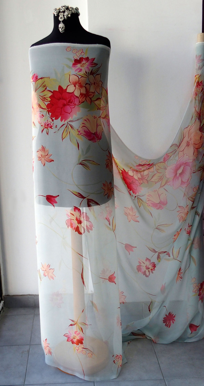 Border Floral Print Pure Silk Chiffon Fabric High Quality