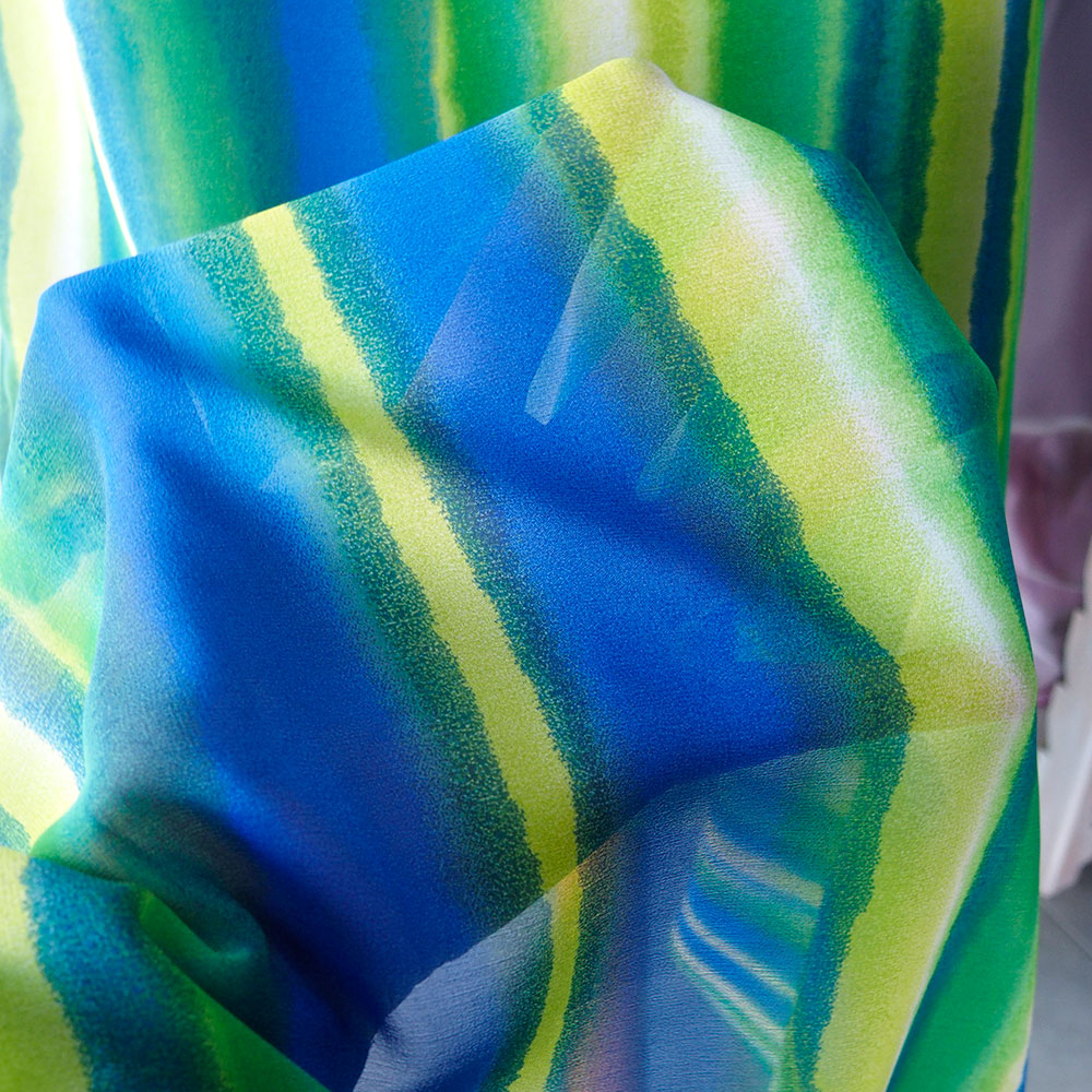 green blue stripe silk fabric