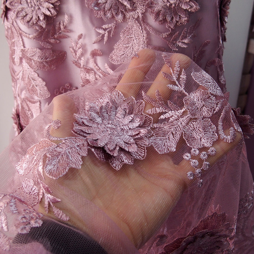 Dusky Pink Lace Fabric With 3d Flowers Mother Of Bride Lace
