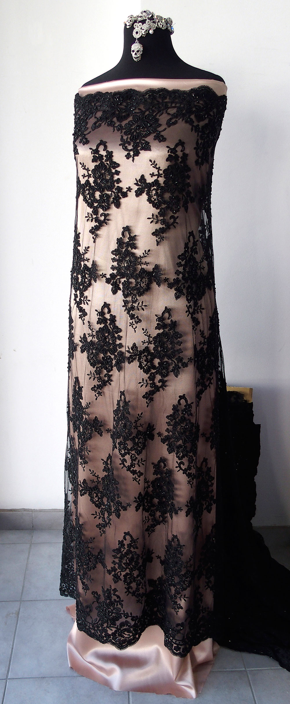 Black Beaded Lace Fabric Bridal Burlesque Goth Wedding