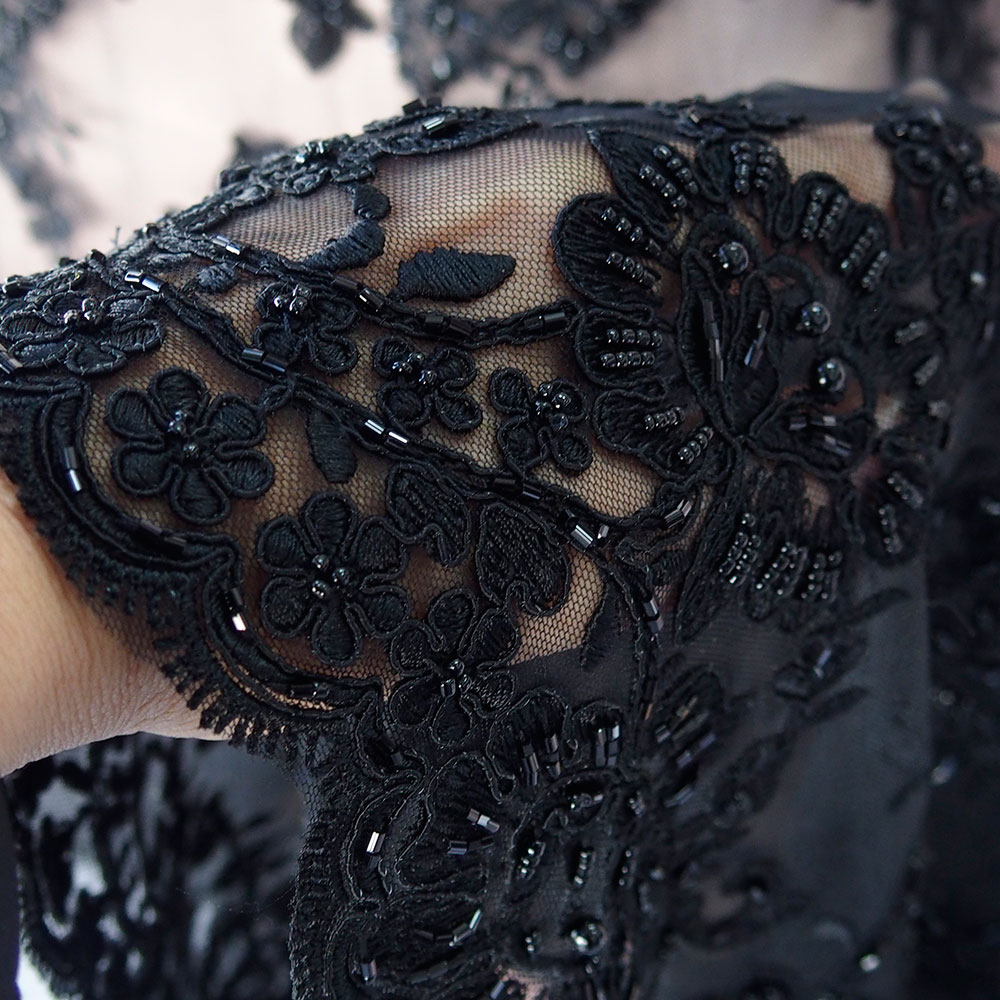 black beaded lace