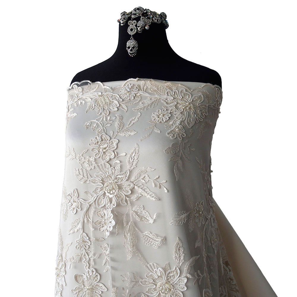 ivory Vintage beaded tulle remnant