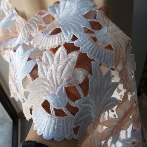peach guipure lace