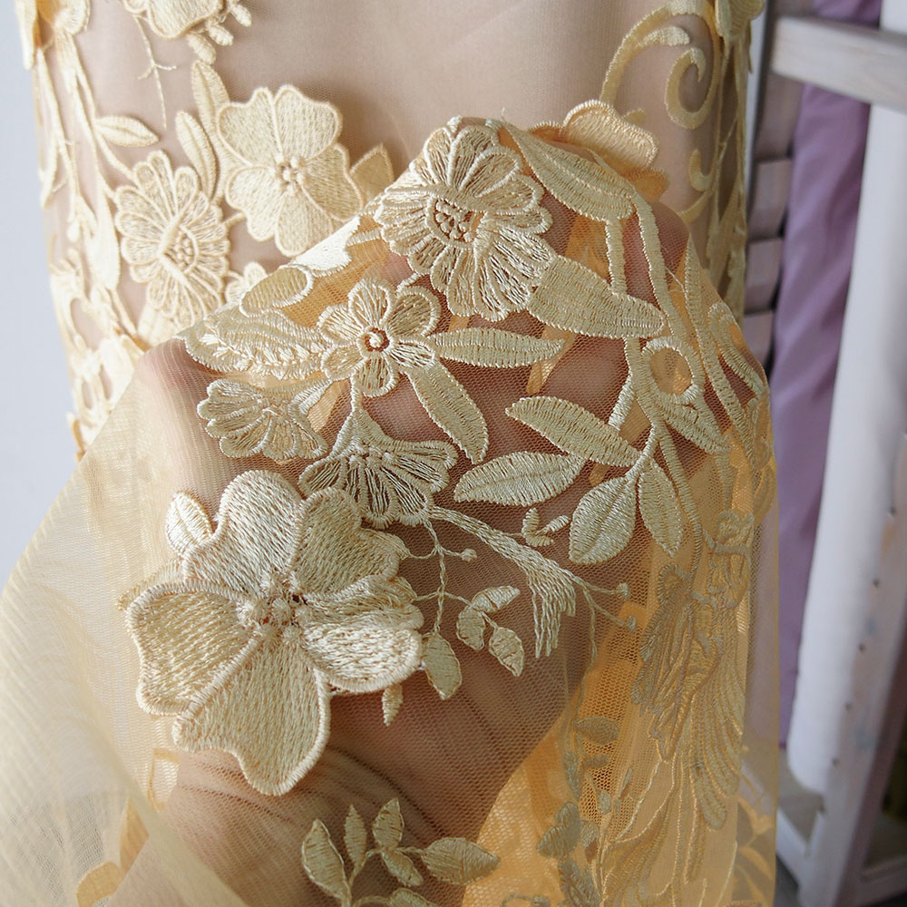 yellow guipure lace