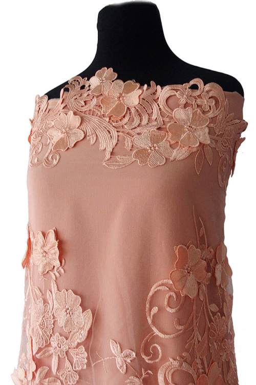 coral guipure lace