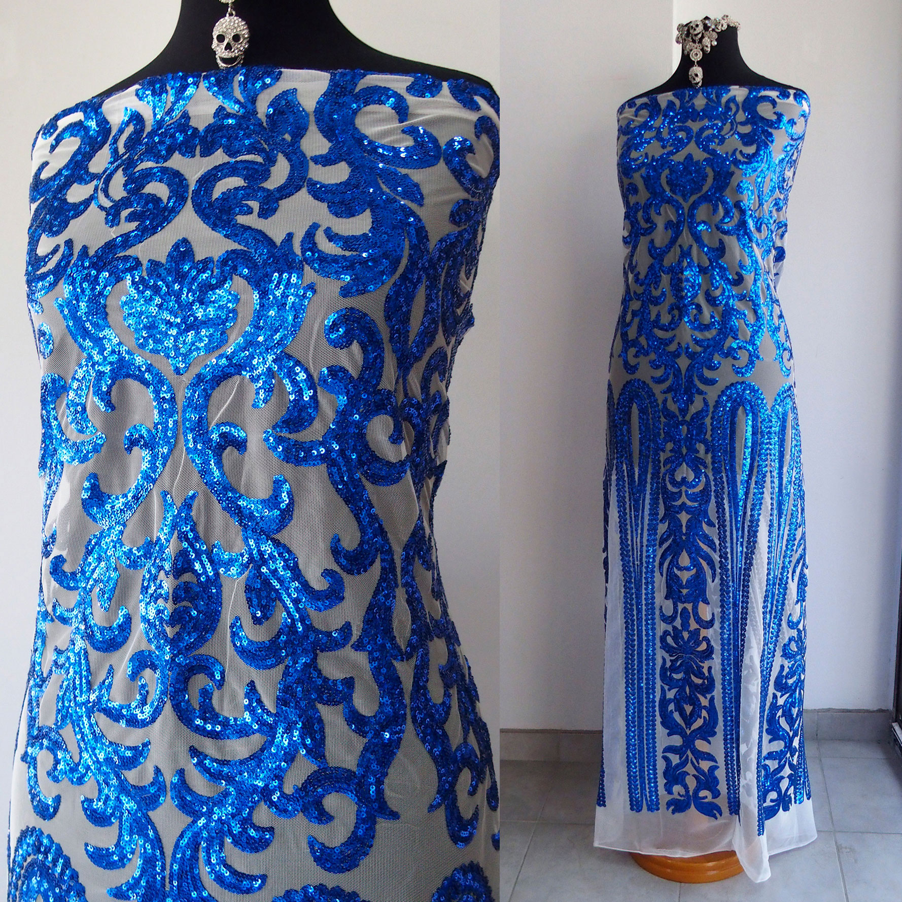 blue beaded lace