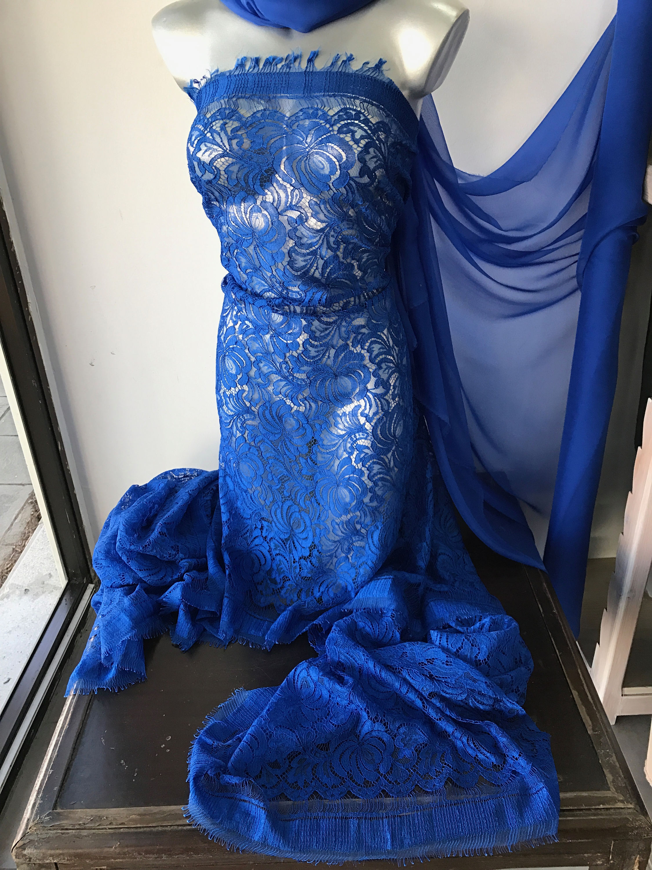cobalt blue lace and silk chiffon