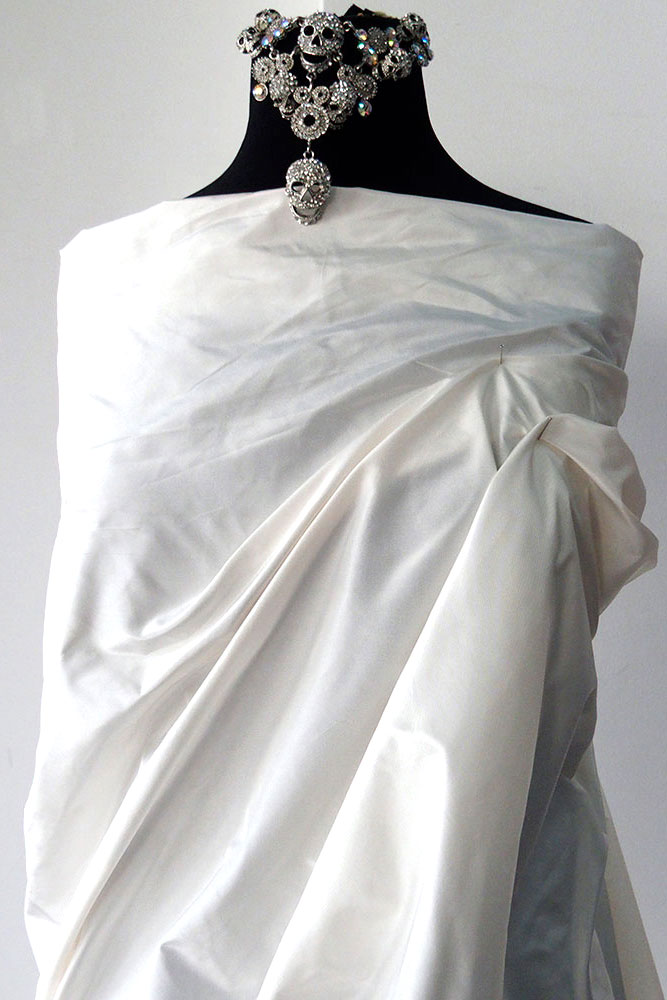 Off White Ivory Silk Taffeta Fabric Bridal Wedding Dress Yardage By