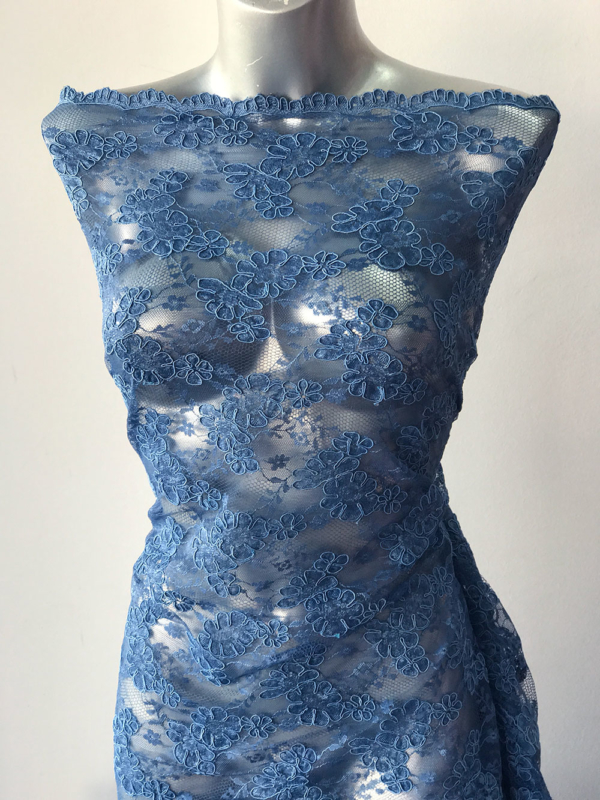 blue corded lace fabric
