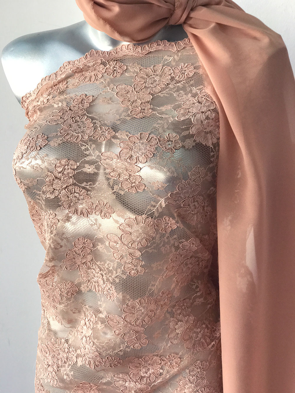 nude beige lace fabric