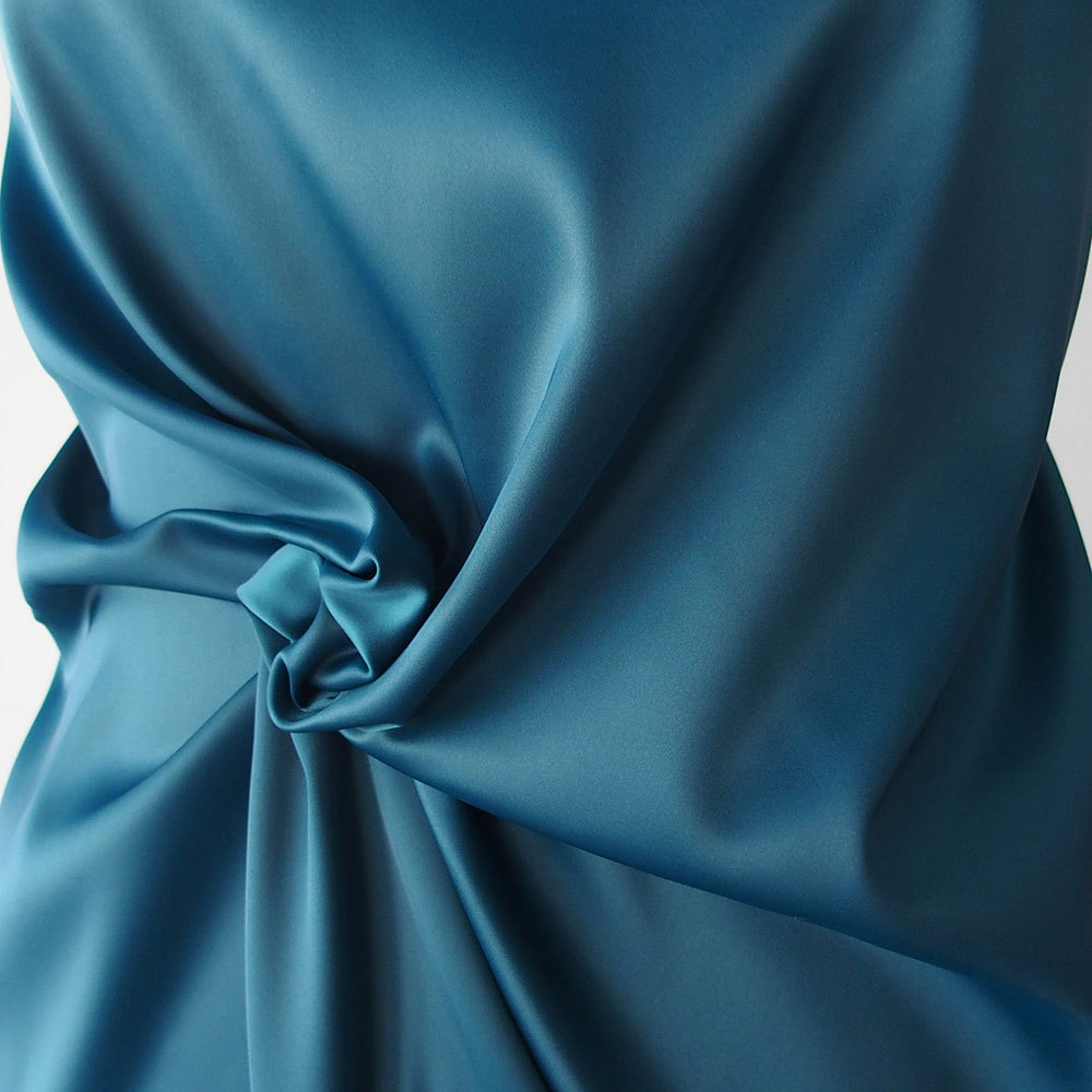 Teal Blue Polyester Satin Fabric Poly Spandex Heavy Duchess