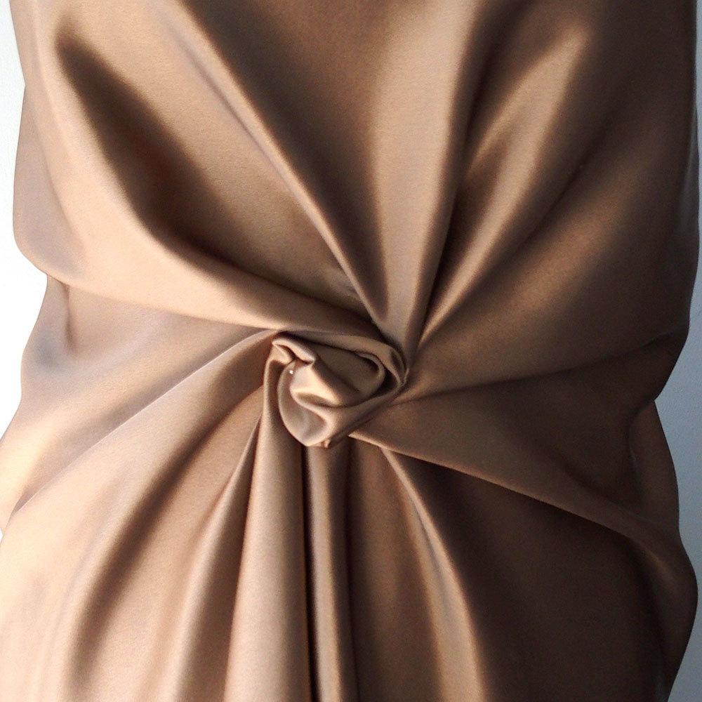 bronze beige fawn satin fabric semi mat pure silk bridal. Black Bedroom Furniture Sets. Home Design Ideas