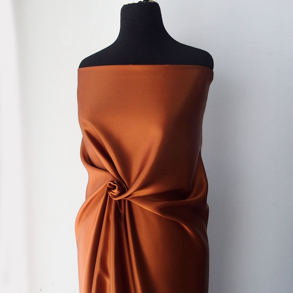 russet orange tangerine satin fabric pure silk satin medium weight ...