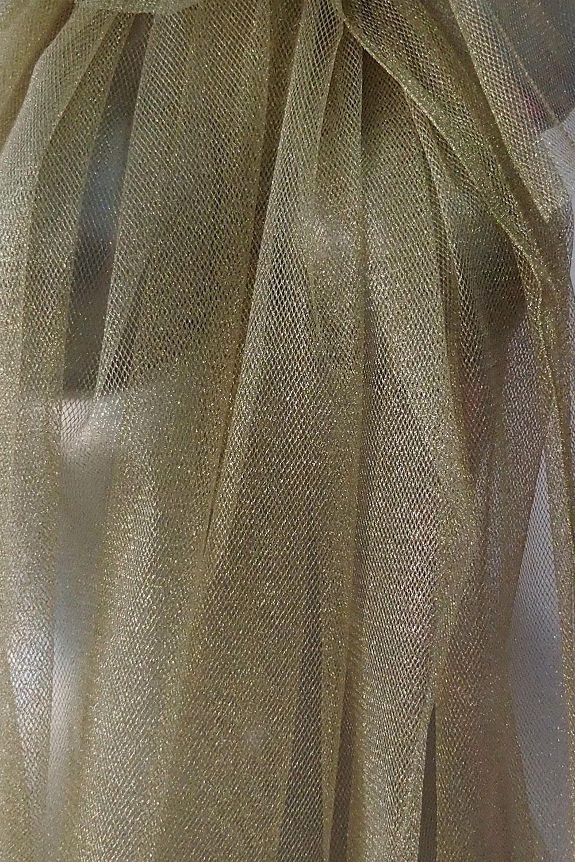 Gold Metallic Tulle Mesh Fabric For Dressmaking Bodikian