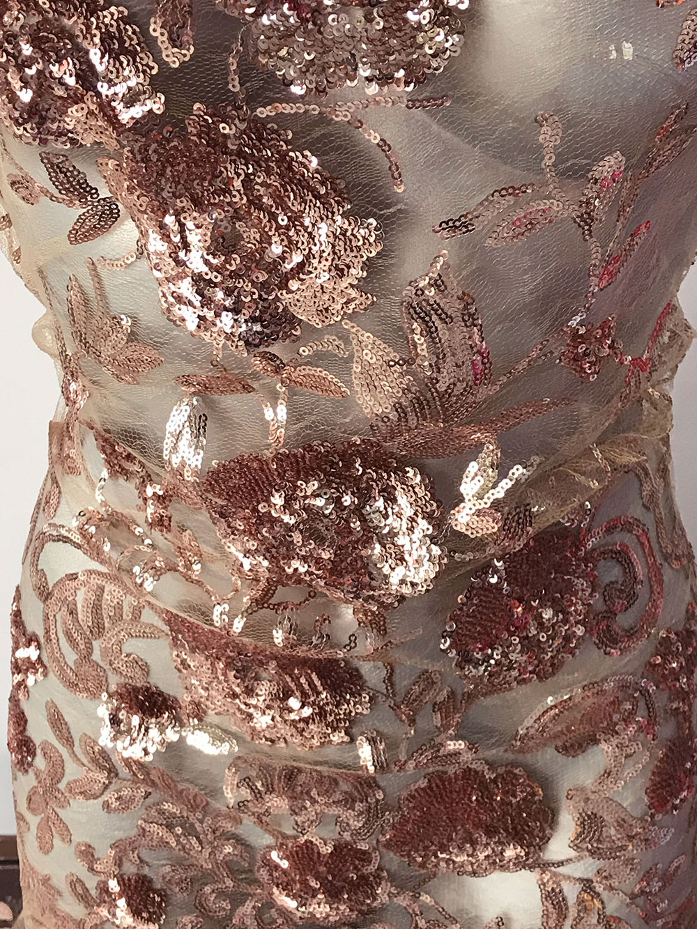 ROSE GOLD Sparkly Bling Sequins Net Material Cocktail Dress Evening Party Lace