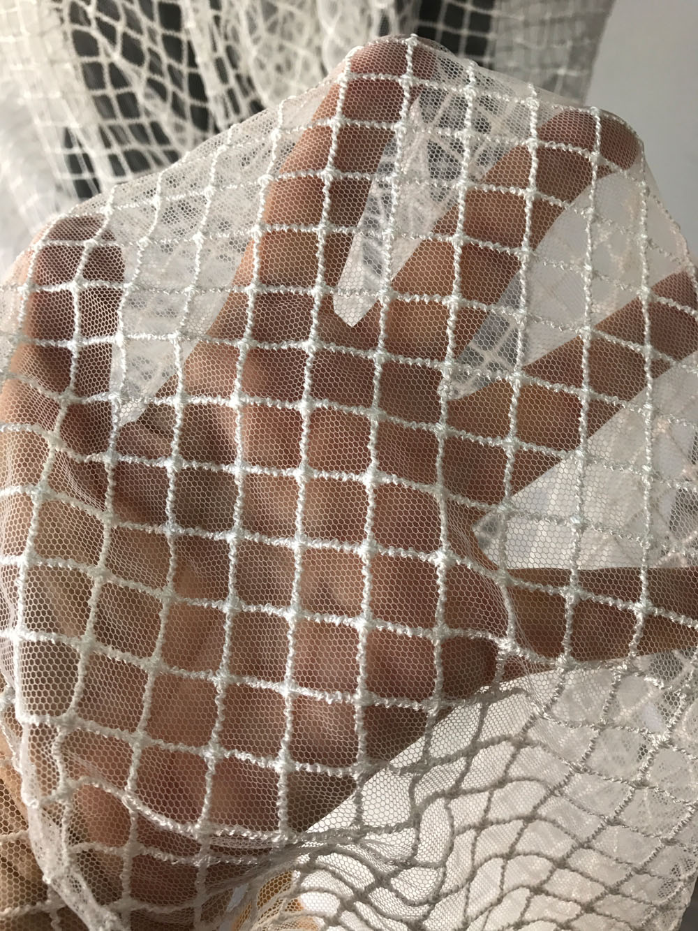 Off White Ivory Tulle Net Check Pattern Bridal Fabric Mesh
