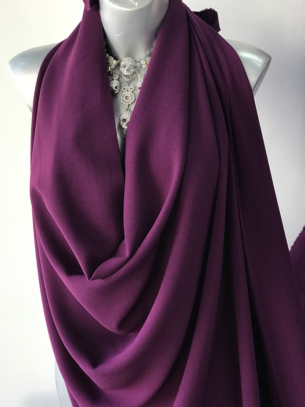 purple crepe fabric