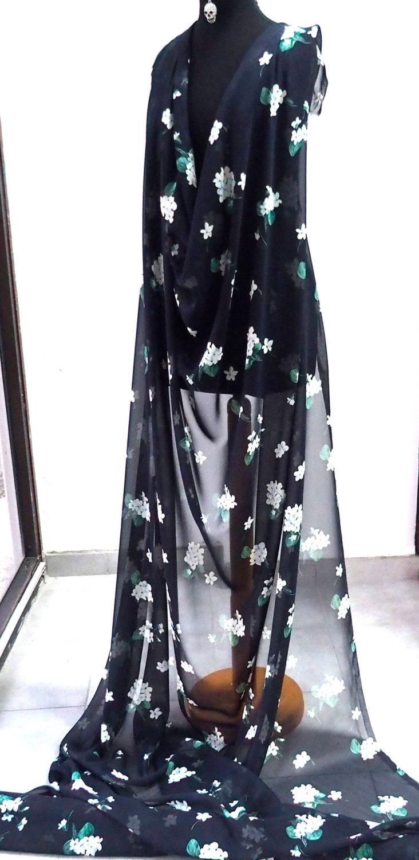 49eebfd2b2b61 silk chiffon print fabric large floral print navy blue background green  white kaftan kimono evening 140cm wide Italy