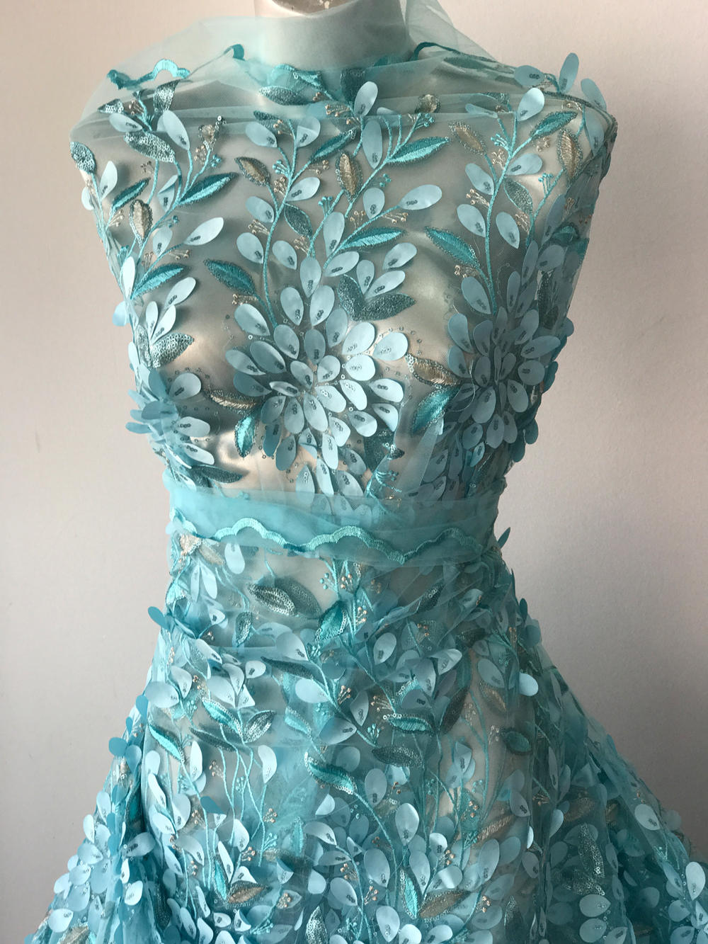 Turquoise Blue Silver Lace Fabric Embroidery 3d Laser Cut