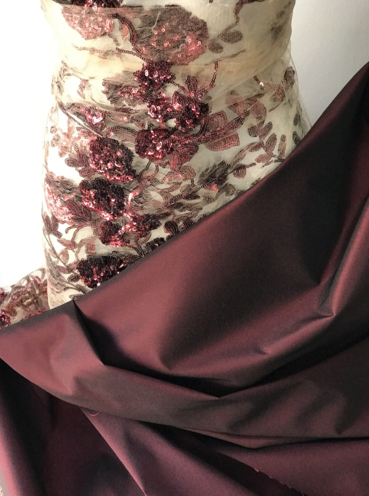 burgundy sequins lace