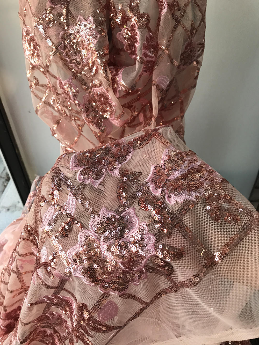 Pink beaded lace fabric plush tulle embroidered with