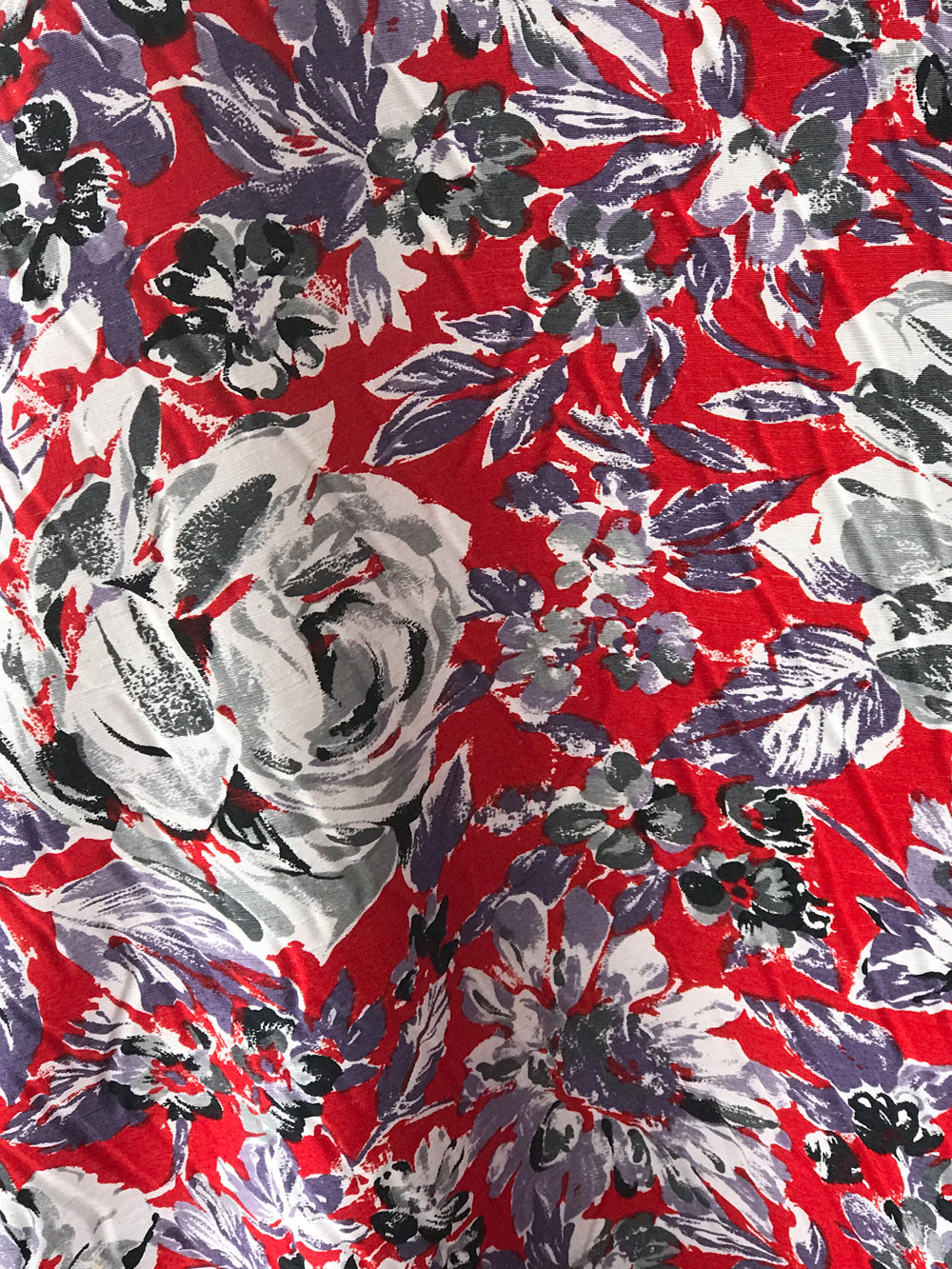 Viscose And Silk Print Fabric Red White Black Roses Italian