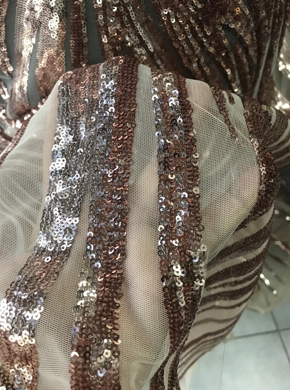 Rose Gold Lace In Baroque Design Rose Gold Metallic