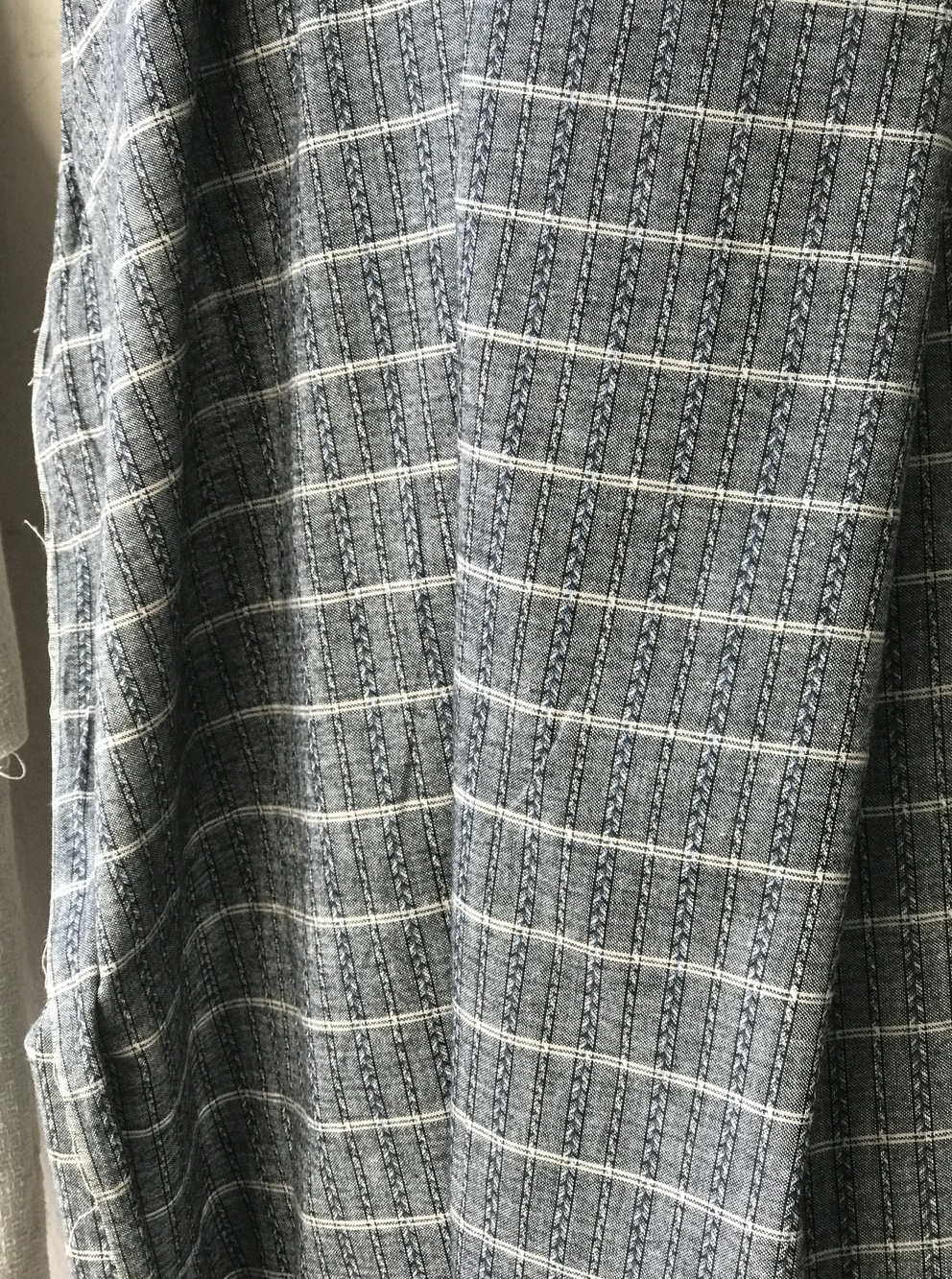 black blue grey check striped fabric brushed cotton shirting ...