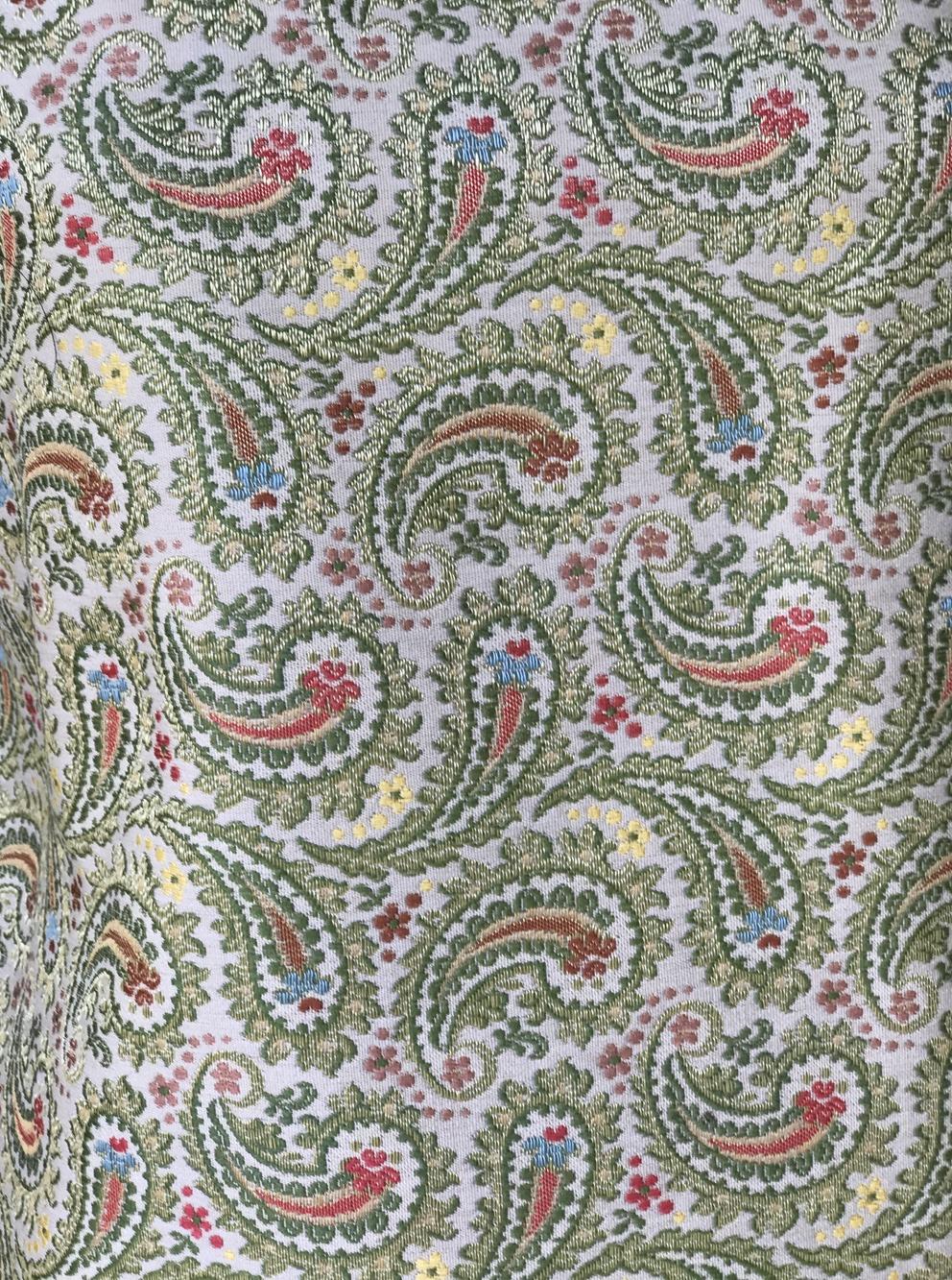 brocade fabric paisley design metallic thread regency redingote baroque floral made in italy