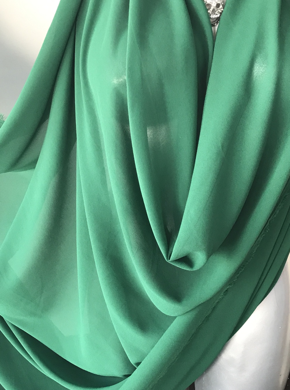 Green Emerald Polyester Chiffon Fabric Pebble Chiffon