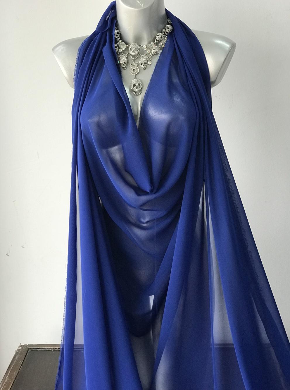 blue chiffon fabric