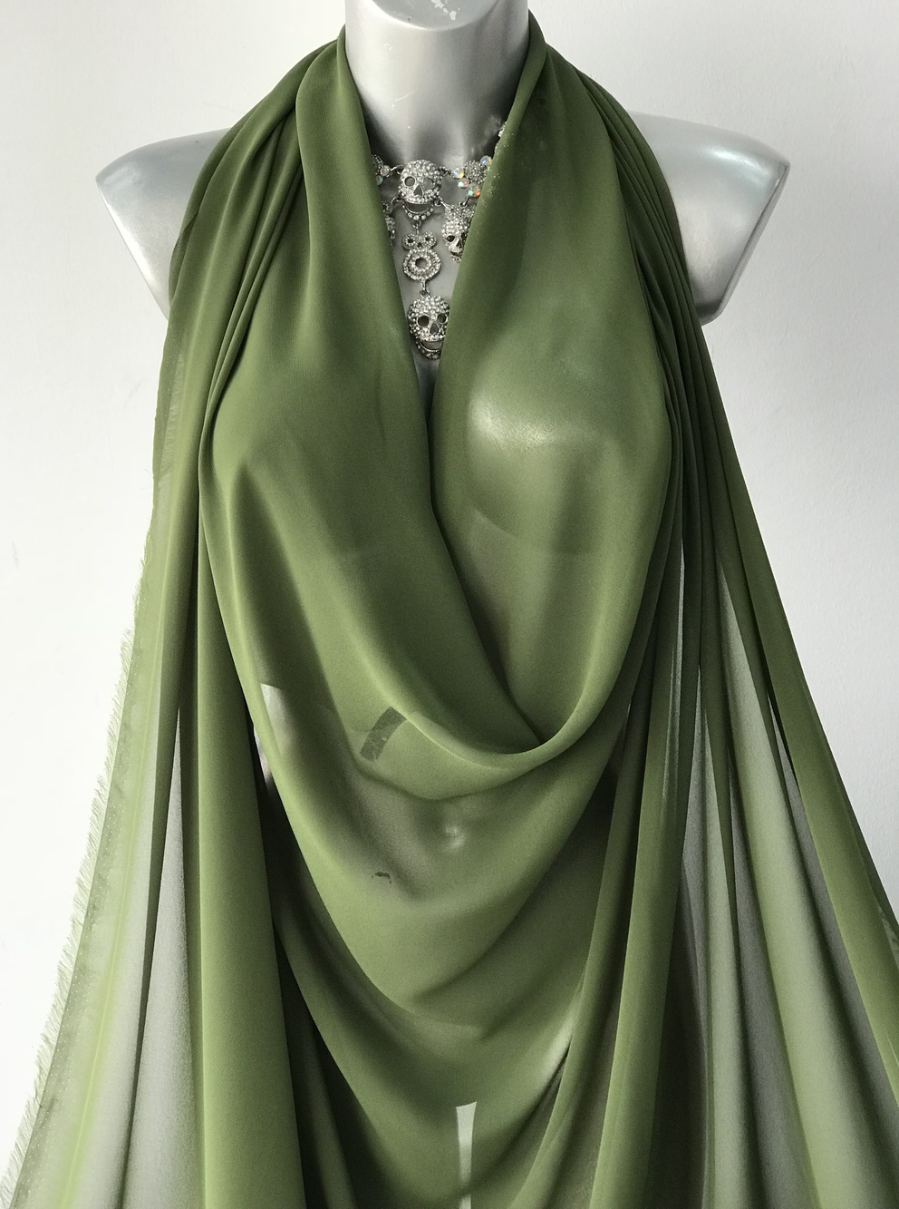 Olive Green Polyester Chiffon Fabric Bodikian Textiles